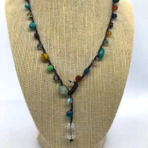 "Hand Crocheted Necklace w/ Crystal Teardrop 18"""